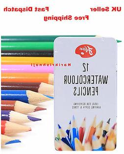 12 WATER COLOUR COLOR PENCIL TIN + GOOD QUALITY+ Art/Artist/