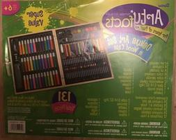 Darice 131-Piece Deluxe Art Set Supplies for Drawing, Painti