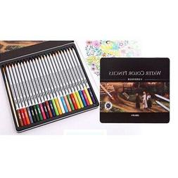 24Pcs Assorted Easy to Work Professional Wooden Color Pencil