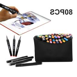 80 Color Set Marker Pen Alcohol Graphic Art Twin Tip Markers