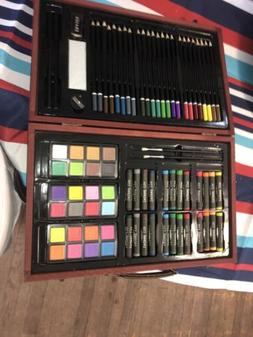 80 Piece Deluxe Art Set Drawing and Painting w/ Wood Case Ac