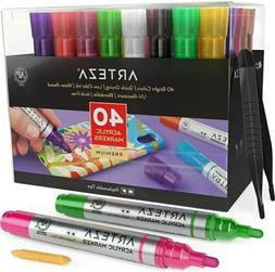 Arteza Acrylic Paint Markers, Set of 40 Pens with Replaceabl