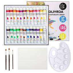 Acrylic Paint Set in 24 Colors with 3 Paint Brushes, Palette