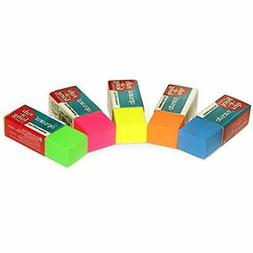 Auium Standard Pencil Erasers 20 In Five Vibrant Colors. Kee