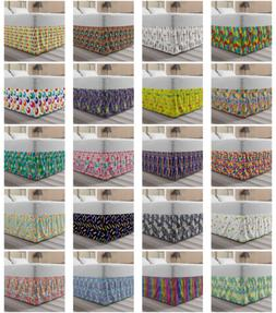 Ambesonne Colorful Element Bedskirt Elastic Wrap Around Skir