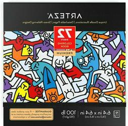 Arteza Coloring Book for Adults, Doodle Designs, 72 Sheets,