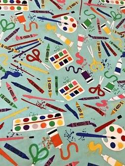Crayola Art Box Supplies Cotton Fabric per yard quilt / sew