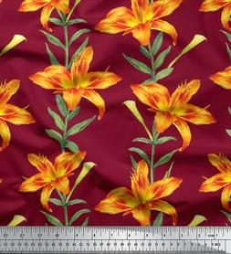 Soimoi Fabric Leaves & Lily Floral Decor Fabric Printed BTY