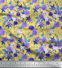 Soimoi Fabric Lilac & Peony Floral Print Sewing Fabric BTY -