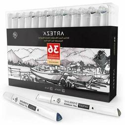 ARTEZA Gray Tone Alcohol Based Everblend Art Markers, Set of