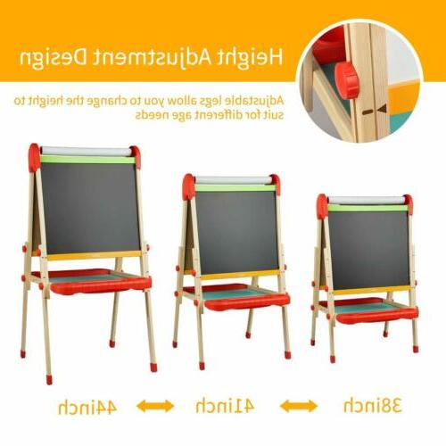 """15*44"""" Kids Wooden Easel Adjustable Magnetic Sided Drawing Board"""