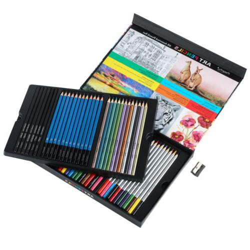 36 Professional Drawing Kids Art Supplies Lot Colored Pencils Set Sketching Kit