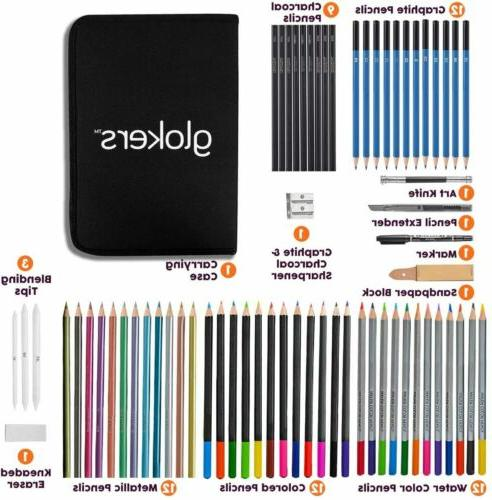 Glokers 71-Piece Arts Supplies and Drawing Kit Complete