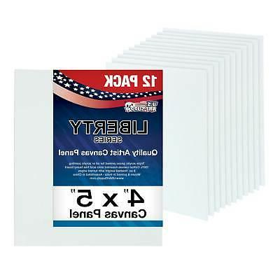 """Blank Cotton Canvas Panels 4""""x5"""" 12 Pack Mounted Art Boards"""
