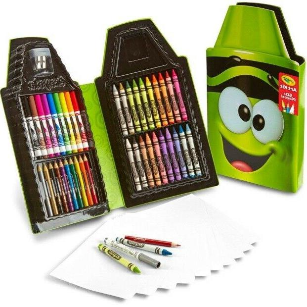 Gift for kids 50 Piece Art Kit Crayons, Colored Pencils Set