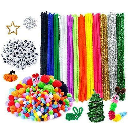Huge Craft Pipe Cleaners Eyes Poms