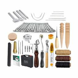 Caydo 59 Pieces Leather Craft Hand Tools Kit for Hand Sewing
