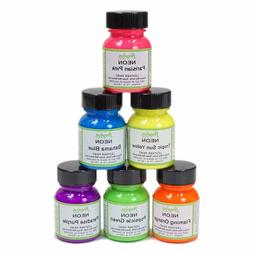Angelus Neon Leather Paint, 1 oz set of 6