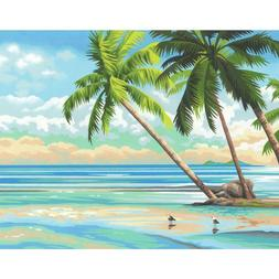 PAINTWORKS Paint by Number Kit TROPICAL VIEW Beach 11 x 14 i