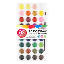 US Art Supply Portable 36 Watercolor Paint Set with Brush No