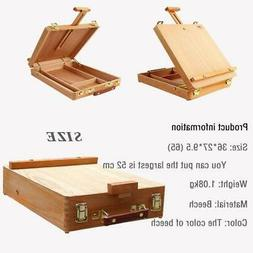 Portable Kids Table Top Easel Drawer Wood Case Stand Display