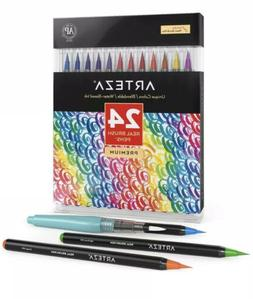 Arteza Real Brush Pens, 24 Colors for Watercolor Painting wi