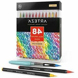 Arteza Real Brush Pens, 48 Colors for Watercolor Painting wi