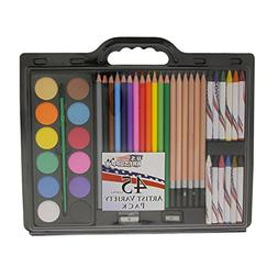 US Art Supply Brand 45 Piece Art Set with Water Colour Cakes