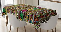 Ambesonne Tribal Tablecloth, Ethnic Design with Colorful Geo